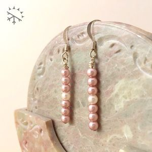 PINK CHAMPAGNE 7 • Pearl Minimal Dainty Earrings